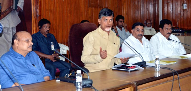 Andhra Pradesh Chief Minister N. Chandrababu Naidu announces Vijayawada as states' new capital in Hyderabad on Sept 4, 2014. - N. Chandrababu Naidu