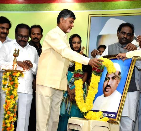 Andhra Pradesh Chief Minister N Chandrababu Naidu pays tribute to Babu Jagjivan Ram, on his birth anniversary at Ramavarappadu Centre, in Vijayawada on April 5, 2016. - N Chandrababu Naidu