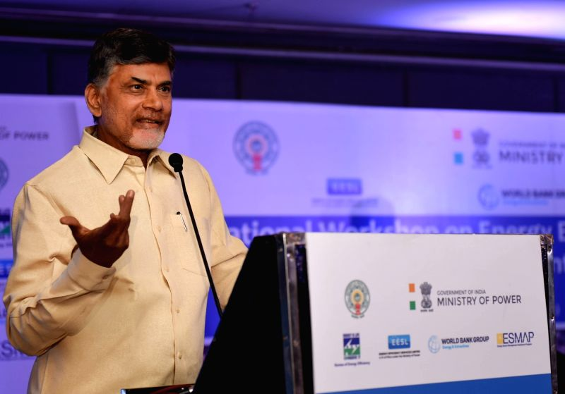 Andhra Pradesh Chief Minister N. Chandrababu Naidu addresses during an international workshop on energy and efficient lighting in Vijayawada on April 7, 2016. - N. Chandrababu Naidu