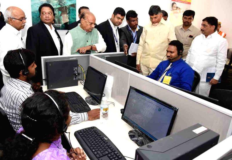 Andhra Pradesh Chief Minister N. Chandrababu Naidu during the inauguration of a call centre in Vijayawada on April 21, 2017. - N. Chandrababu Naidu
