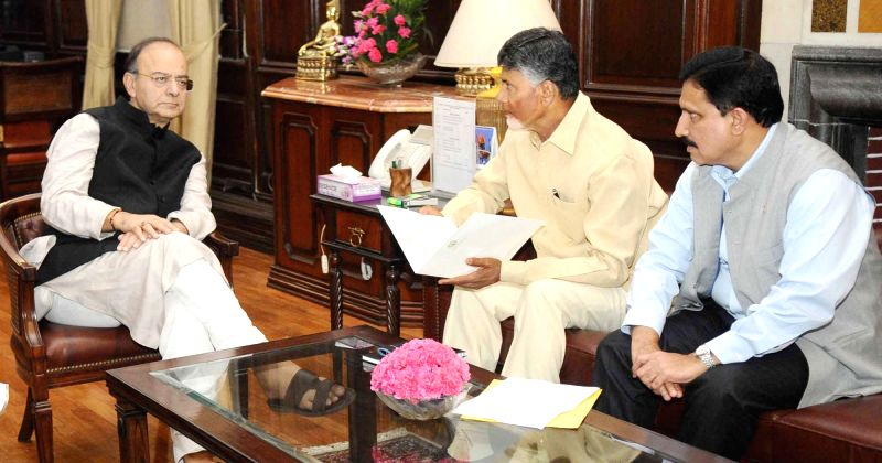 Andhra Pradesh Chief Minister N. Chandrababu Naidu calls on the Union Finance Minister Arun Jaitley in New Delhi on May 3, 2017. Also seen Union MoS for Science and Technology Y.S. ... - N. Chandrababu Naidu and Arun Jaitley