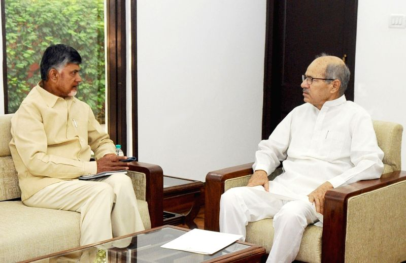Andhra Pradesh Chief Minister N. Chandrababu Naidu calls on MoS for Environment and Climate Change Anil Madhav Dave in New Delhi on May 3, 2017. - N. Chandrababu Naidu
