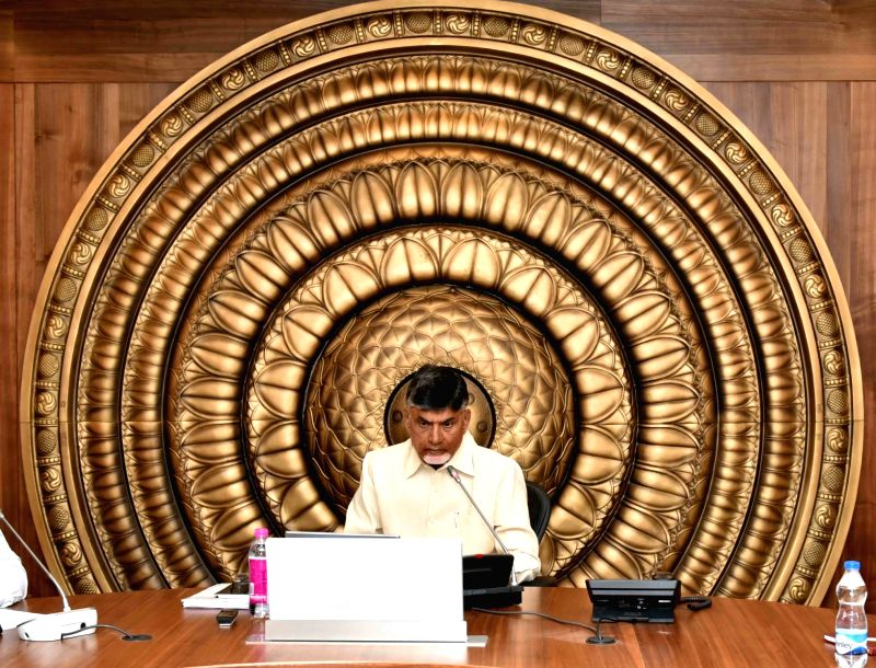 Andhra Pradesh Chief Minister N. Chandrababu Naidu addresses during a meeting with the council of ministers at the Secretariat in Vijayawada on Sept 10, 2017. - N. Chandrababu Naidu