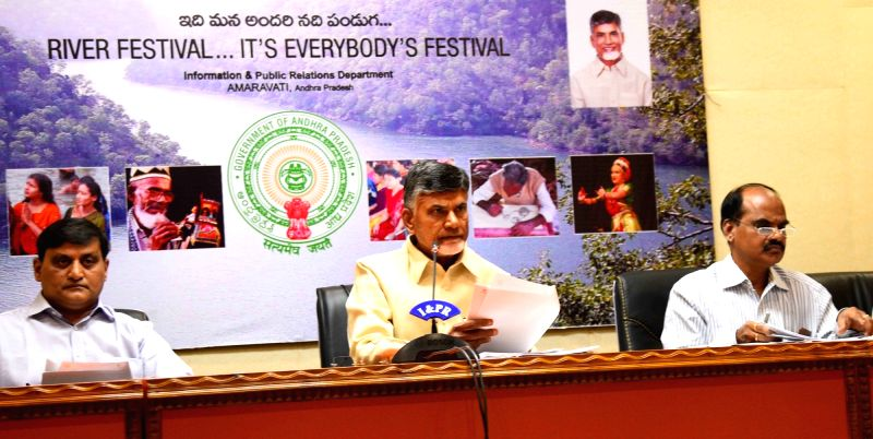 Andhra Pradesh Chief Minister N Chandrababu Naidu addresses a press conference in Hyderabad on Dec 7, 2017. - N Chandrababu Naidu