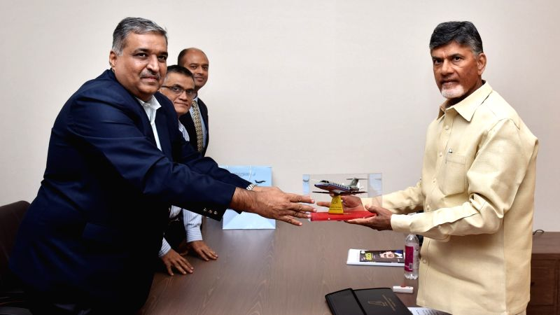 Andhra Pradesh Chief Minister N. Chandrababu Naidu during a meeting with Council of Scientific and Industrial Research (CSIR) DG Girish Sahni, in Undavalli, Andhra Pradesh on April 21, ... - N. Chandrababu Naidu
