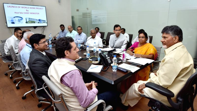 Andhra Pradesh Chief Minister N. Chandrababu Naidu during a meeting with the representatives of the World Bank, in Hyderabad on April 21, 2018. - N. Chandrababu Naidu