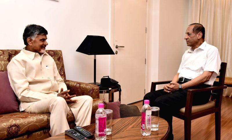 Andhra Pradesh Chief Minister N. Chandrababu Naidu calls on Andhra Pradesh and Telangana Governor ESL Narasimhan in Hyderabad, on April 22, 2018. - N. Chandrababu Naidu