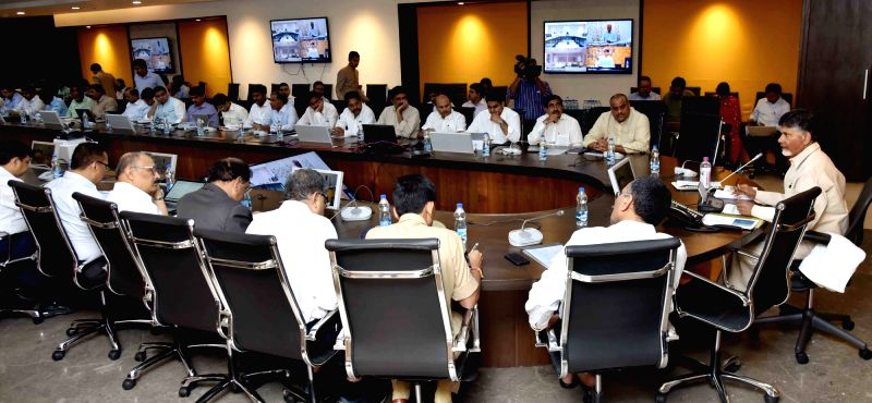 Andhra Pradesh Chief Minister N. Chandrababu Naidu chairs a District Collectors meeting, in Vijayawada on July 25, 2018. - N. Chandrababu Naidu