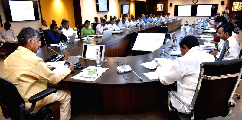 Andhra Pradesh Chief Minister N. Chandrababu Naidu chairs a review meeting on Polavaram project meeting at the Secretariat, in Vijayawada on July 30, 2018. - N. Chandrababu Naidu