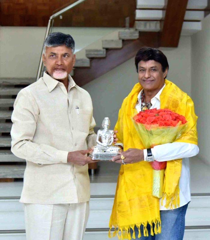 """Andhra Pradesh Chief Minister N. Chandrababu Naidu with actor Nandamuri Balakrishna at the screening of Former Andhra Pradesh Chief Minister N. T. Rama Rao's biopic """"NTR ... - N. Chandrababu Naidu"""