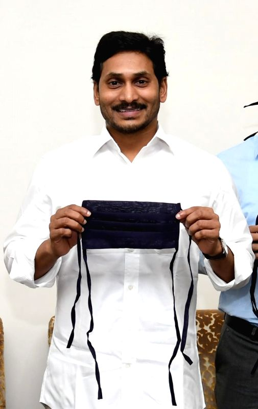 Andhra Pradesh Chief Minister Y.S. Jagan Mohan Reddy with masks.