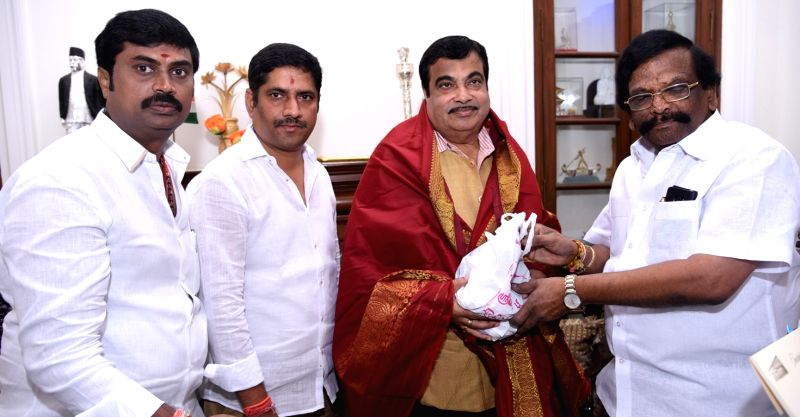 Andhra Pradesh Minister for Transport Sidda Raghava Rao greets Union Road Transport and Shipping Minister Nitin Gadkari in Hyderabad on Aug 8, 2016. - Nitin Gadkari and Sidda Raghava Rao