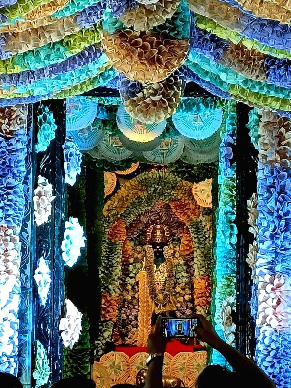 Andhra temple decked up with Rs.5 crore currency notes.