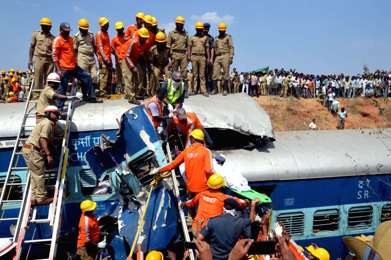 Rescue operation underway at the site where Bengaluru-Erankulam inter-city express derailed between Anekal station (near Bengaluru) and Hosur (in Tamil Nadu) on Feb 13, 2015. Twelve ...