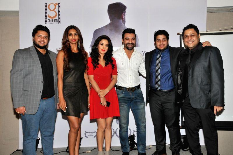 Anirban Aditya, SAndhya Shetty, Shweta Khanduri with Ajaz Khan,  Ankit Aditya & Sahadeb Chowdhury  during the Gold Reel Productions launch party in Mumbai Dec 1, 2015 - Ajaz Khan