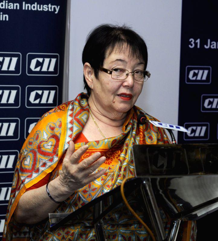 ":Anita Bose Pfaff, daughter of Netaji Subhash Chandra Bose speaks at an interactive session ""Global Economy-Future Ahead"" in Kolkata on Jan. 31. (Photo: IANS)."
