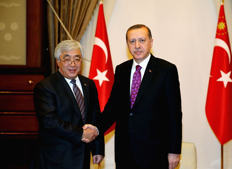 Turkish President Recep Tayyip Erdogan (R) meets with visiting Kazakhstan's Foreign Minister Yerlan Idrisov at the New Presidential Palace in Ankara, Turkey, on Dec. - Yerlan Idrisov