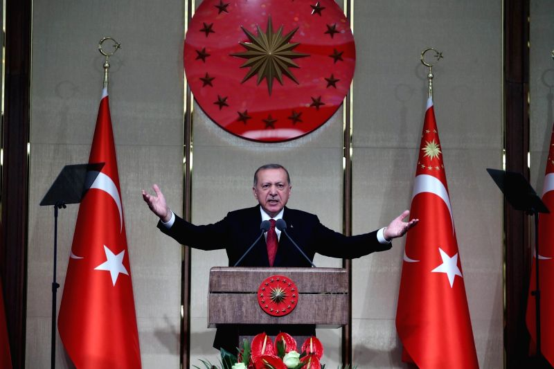 ANKARA, July 16, 2018 - Turkish President Recep Tayyip Erdogan makes a speech during a commemoration event marking the second anniversary of the defeated failed coup in 2016 in Ankara, Turkey, July ...