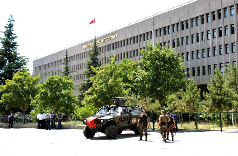 ANKARA, July 18, 2016 - Special forces and police stand guard near Ankara courthouse in Ankara, Turkey on July 18, 2016. Extraordinary security measures have been observed in city center of Turkish ...