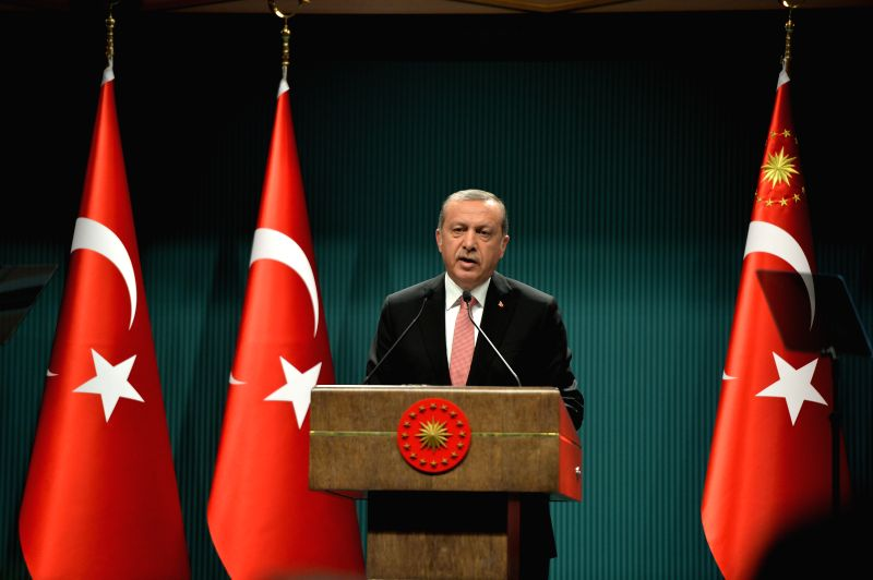ANKARA, July 20, 2016 - Turkish President Recep Tayyip Erdogan speaks at a press conference in Ankara, Turkey on July 20, 2016. Turkish President Recep Tayyip Erdogan on Wednesday declared state of ...