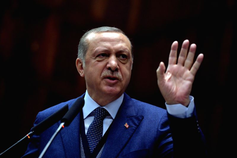 ANKARA, June 13, 2017 - Turkish President Recep Tayyip Erdogan addresses to lawmakers of the ruling Justice and Development Party in Ankara, Turkey, on June 13, 2017. Erdogan criticized Monday the ...