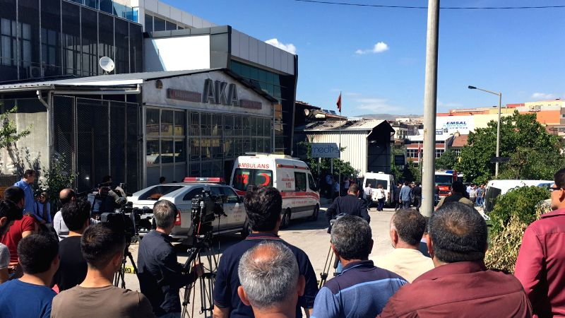 ANKARA, June 14, 2017 - Photo taken by mobile phone shows the scene of an explosion in Turkish capital Ankara, June 14, 2017. Two people was killed and four others injured due to an explosion in a ...