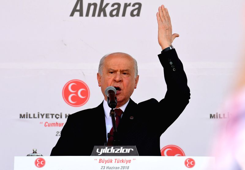 ANKARA, June 23, 2018 - Devlet Bahceli, leader of Turkey's Nationalist Movement Party (MHP), speaks during an election rally in Ankara, Turkey, on June 23, 2018. Turks will cast their votes on Sunday ...