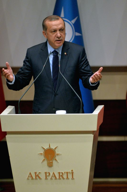ANKARA, May 2, 2017 - Turkish President Recep Tayyip Erdogan addresses a ceremony held for official registration of the president at the ruling Justice and Development Party (AKP) headquarters in ...