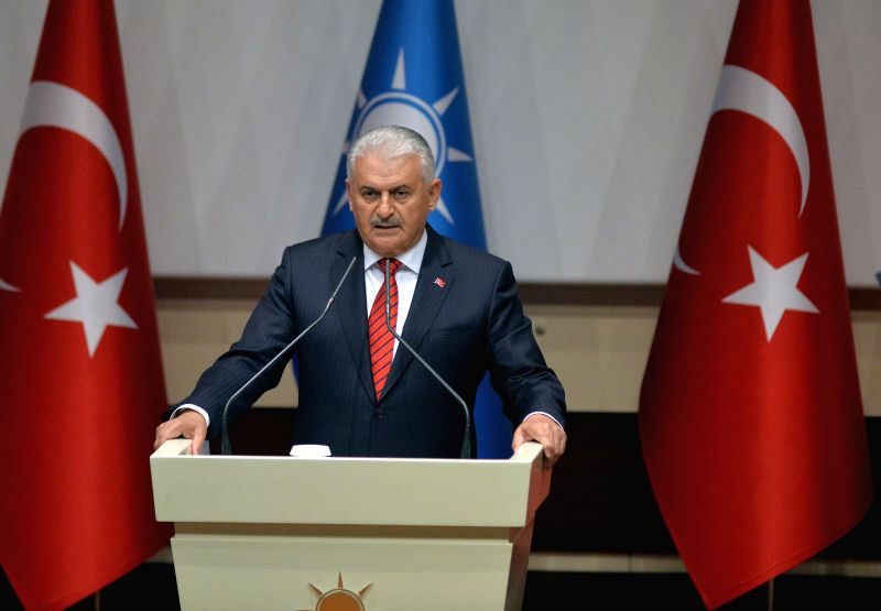 ANKARA, May 2, 2017 - Turkish Prime Minister Binali Yildirim addresses a ceremony held for official registration of Turkish President Recep Tayyip Erdogan at the ruling Justice and Development Party ... - Binali Yildirim