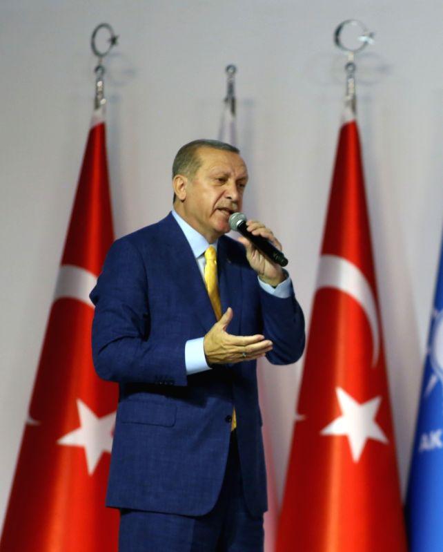ANKARA, May 21, 2017 - Turkish President Tayyip Erdogan delivers a speech during the Extraordinary Congress of the ruling AKP in Ankara, Turkey, May 21, 2017.