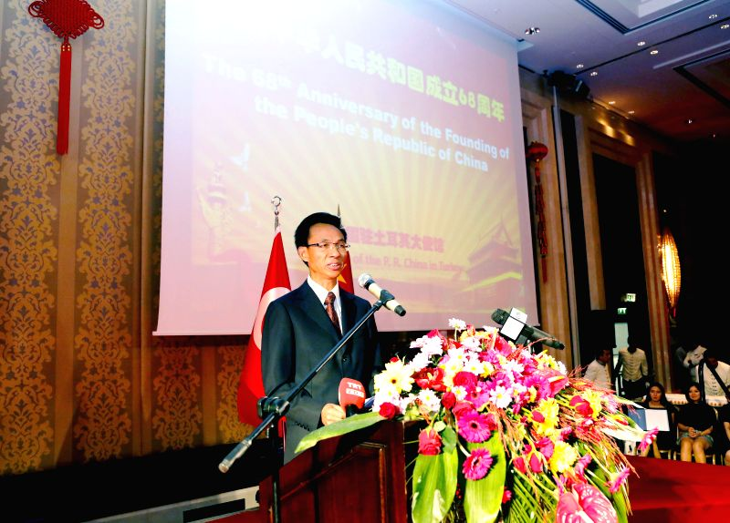 ANKARA, Sept. 29, 2017 - Chinese Ambassador to Turkey Yu Hongyang speaks during a reception to celebrate the 68th anniversary of the founding of the People's Republic of China, in Ankara Sept. 28, ...