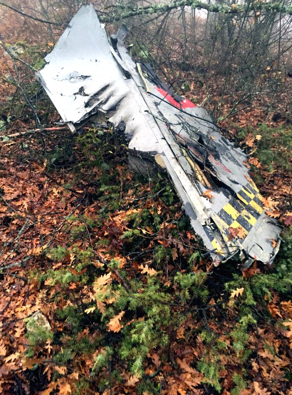 Ankara (Turkey): Photo taken on Dec. 1, 2014 shows the wreckage of an F-16C fighter jet at the crash site in Merzifon town of Amasya Province in northern Turkey. An F-16C fighter jet of the Turkish ..