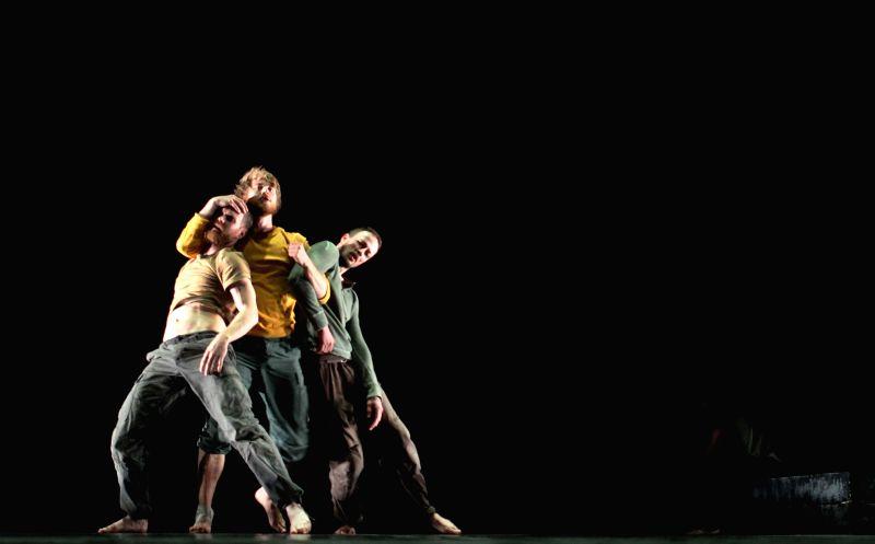 Members of Norwegian Kari Hoaas Dance Group perform during Amman Contemporary Dance Festival (ACDF) in Amman, Jordan, April 17,  2014. (Xinhua/Mohammad Abu ...