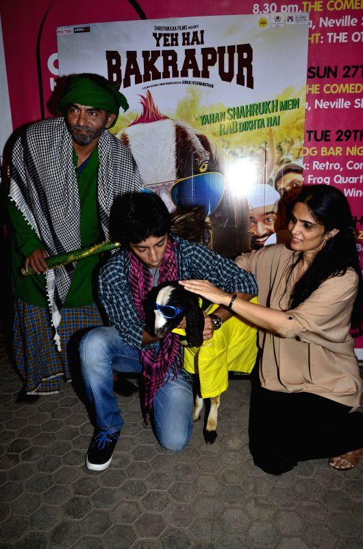 Anshuman Jha and Asif Basra with filmmaker Janaki Vishwanathan during the music launch of  film `Yeh Hai Bakrapur`  in Mumbai on 21st April 2014