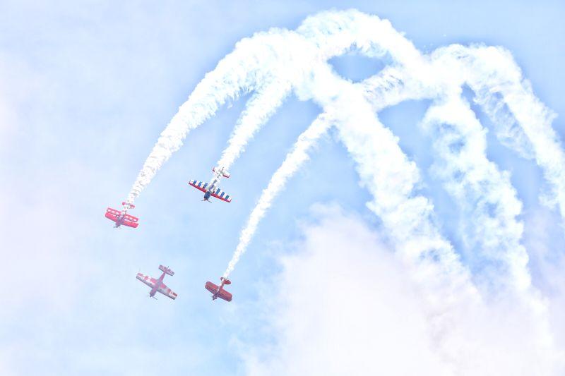 ANSHUN, Aug. 3, 2018 - Aerobatic team from New Zealand perform during Huangguoshu Waterfalls Flight Conference in Anshun, southwest China's Guizhou Province, Aug. 3, 2018.