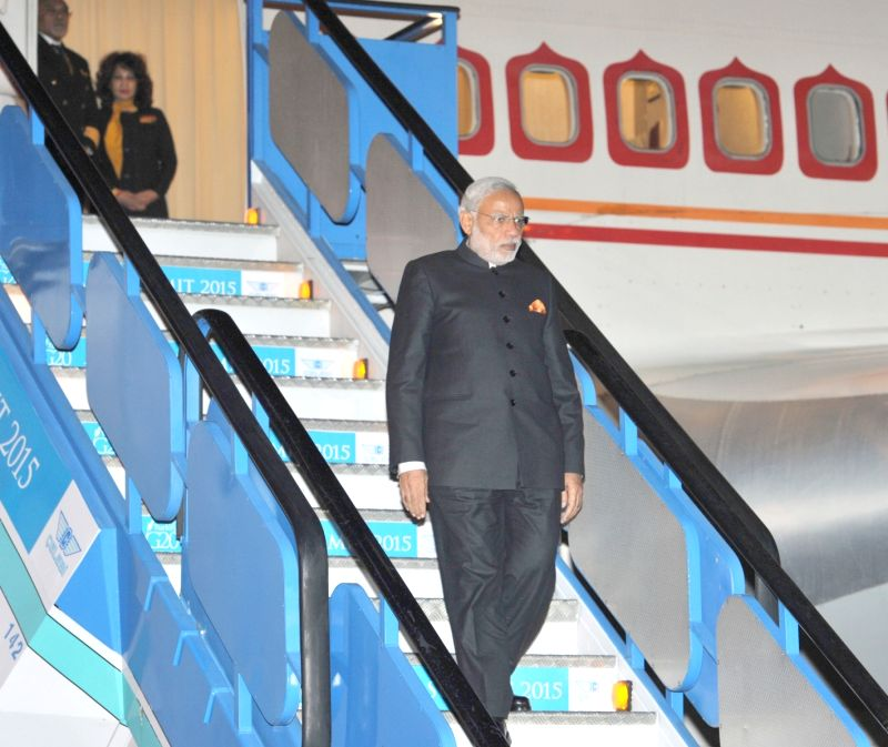:Antalya: Prime Minister Narendra Modi arrives at Antalya, to attend G20 Turkey 2015, in Turkey on Nov 14, 2015. (Photo: IANS/PIB). - Narendra Modi