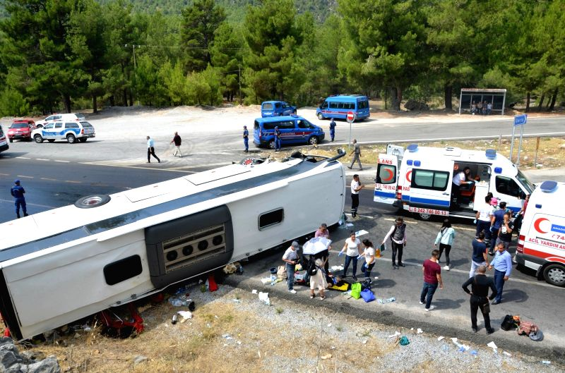 ANTALYA(TURKEY), July 29, 2018 Photo taken on July 29, 2018 shows the site of a bus accident in Antalya Province, Turkey. Two Turkish citizens were killed and 30 other people injured, ...