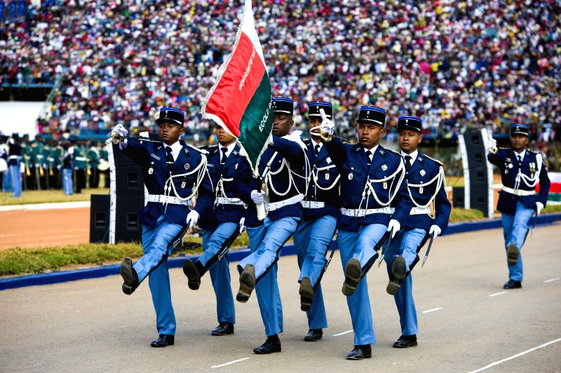 Madagascar soldiers attend a military parade to celebrate the 54th anniversary of Madagascar's independence from France, in Antananarivo, Madagascar, June 26, .