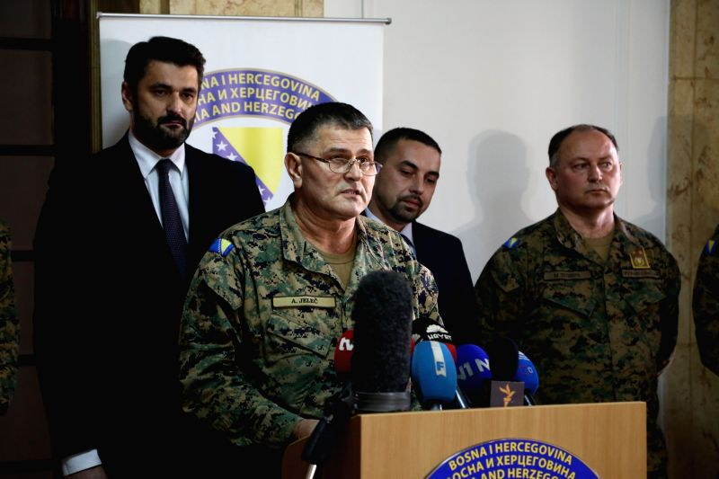 Ante Jelec, Chief of Staff of Armed Forces of Bosnia and Herzegovina (BiH) speaks at a press conference inside the building of defense ministry, in the Old City of ...