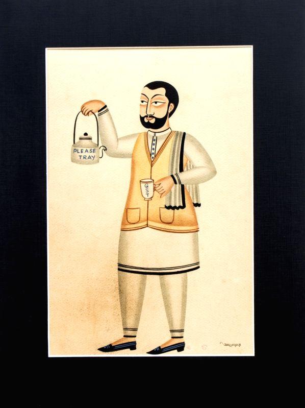 Anwar Chitrakar Modi, 2017 Natural Color on Brown Paper. (Source: Ojas Art Gallery) - Anwar Chitrakar Modi