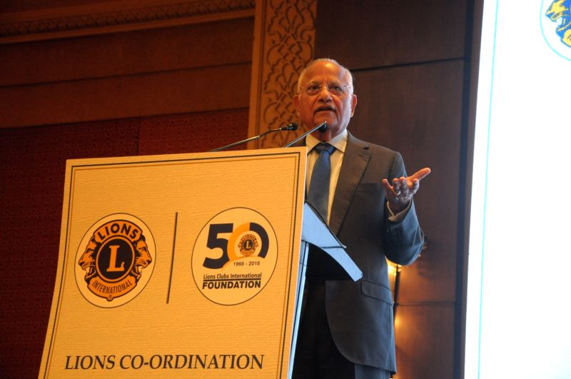 Apollo Hospitals Executive Chairman Prathap C. Reddy addresses at the launch of Lions Clubs International - Apollo Healthcare Partnership Programme, in New Delhi, on July 30, 2018. - Prathap C. Reddy