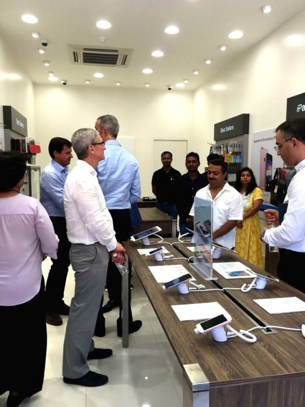 Apple CEO Tim Cook at an Apple store in Gurgaon on May 20, 2016.