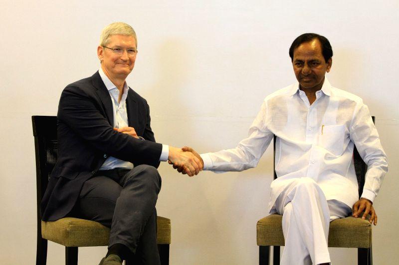 Apple CEO Tim Cook with Telangana CM Chandrasekhar Rao - Chandrasekhar Rao