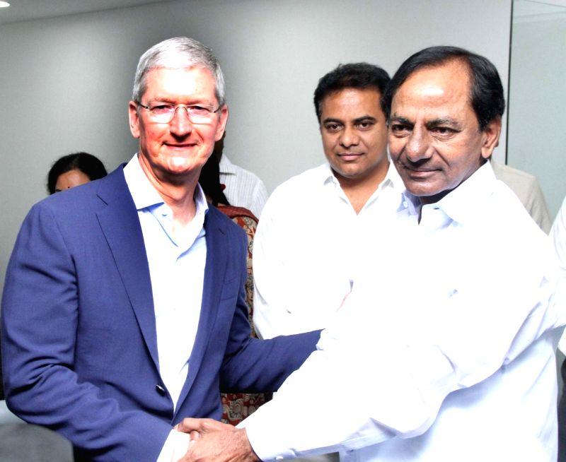 Apple Inc. CEO Tim Cook and Telangana chief minister, K. Chandrashekar Rao inaugurating Apple's technology centre in Hyderabad on May 19, 2016. - K. Chandrashekar Rao