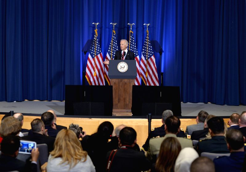 April 9, 2015 U.S. Vice President Joe Biden delivers an address on U.S. policy in Iraq in advance of Iraqi Prime Minister Haider al-Abadi's visit, at the National Defense University, ... - Haider