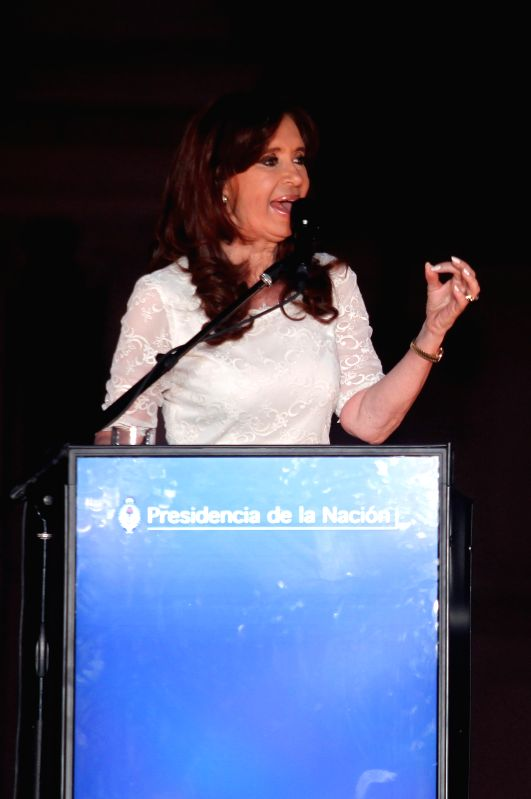 Argentina's President Cristina Fernandez gives a speech during the farewell ceremony at May Square, in Buenos Aires, Argentina, on Dec. 9, 2015. The mandate of ...