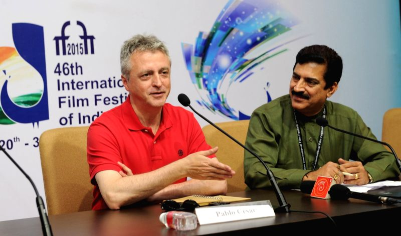 Argentinian Filmmaker, Pablo Cesar addresses a press conference, at the 46th International Film Festival of India (IFFI-2015), in Panaji, Goa on Nov 25, 2015.