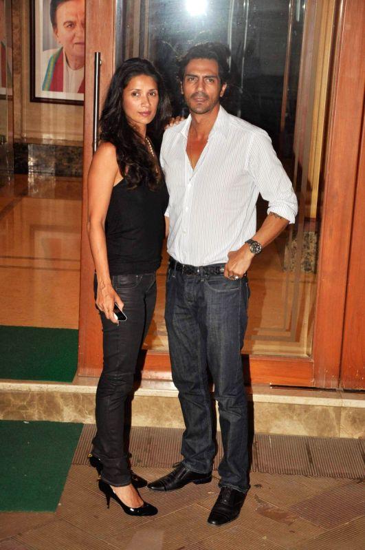 Arjun Rampal and Mehr Jessia at Sanjay Dutt's house.