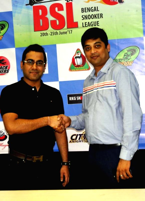 Arjuna Awardee Sourav Kothari (L) and Asian Games Silver Medalist Brijesh Damani during a press conference regarding Bengal Premier Snooker League Championship in Kolkata, on June 13, 2017.