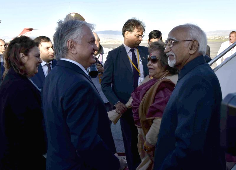 Armenia: Vice President M Hamid Ansari and Salma Ansari being received by the Minister of Foreign Affairs, Armenia Edward Nalbandian and Natalia Nalbandian, on their arrival, at the ...